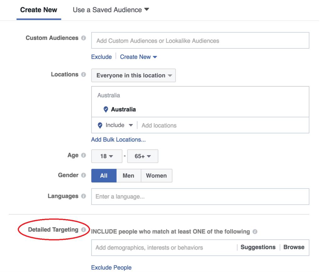 Facebook - detailed targeting