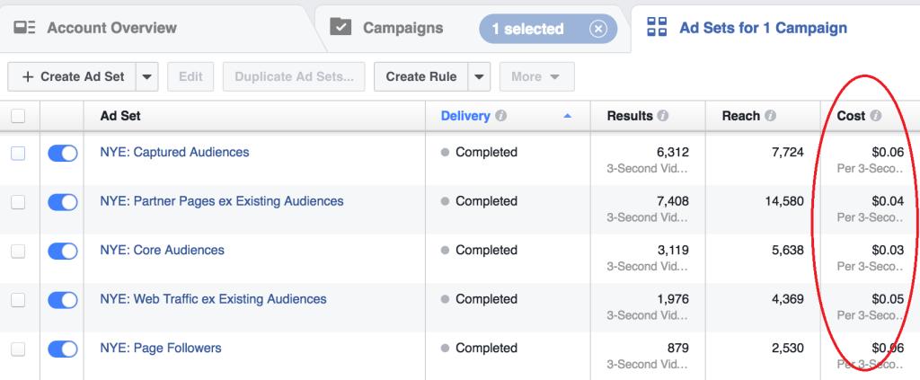 Video cost - Facebook