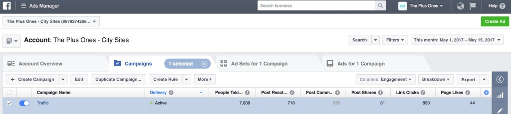 The Plus Ones - Facebook Ad Manager 2