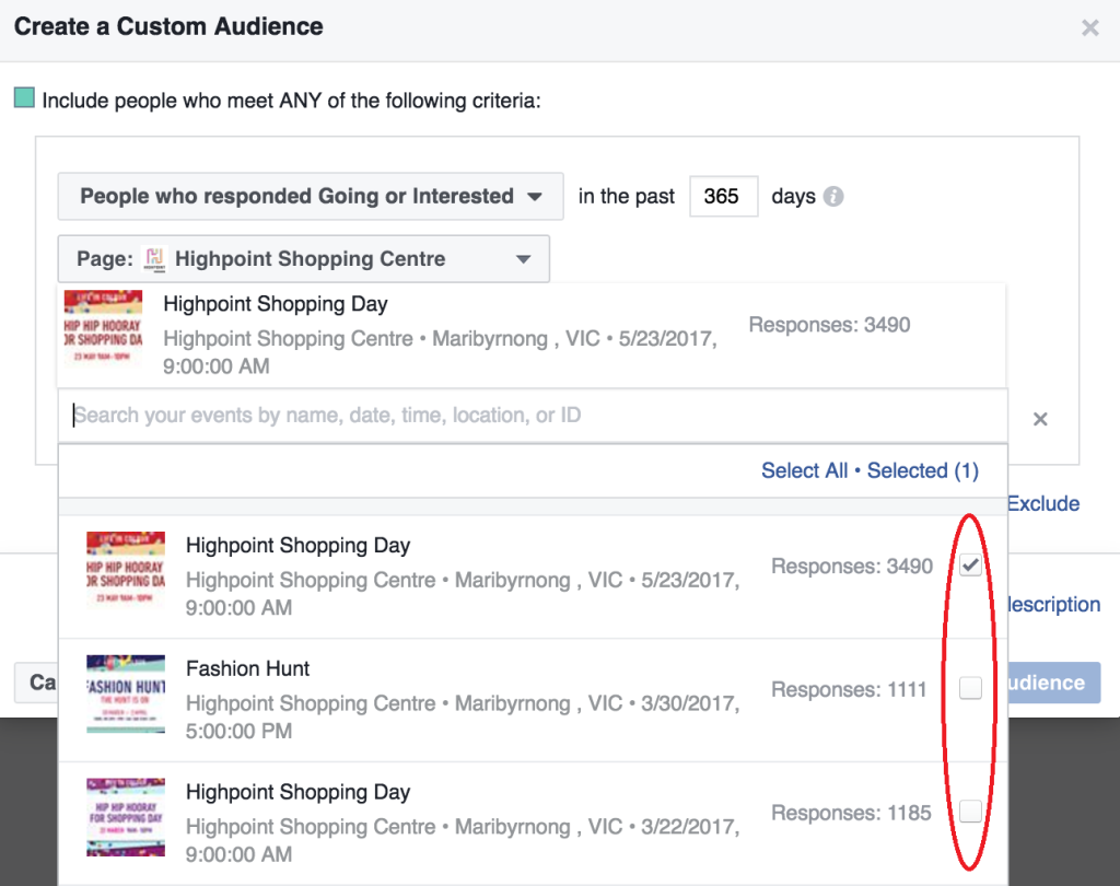 Facebook event response audiences 2 - The Plus Ones