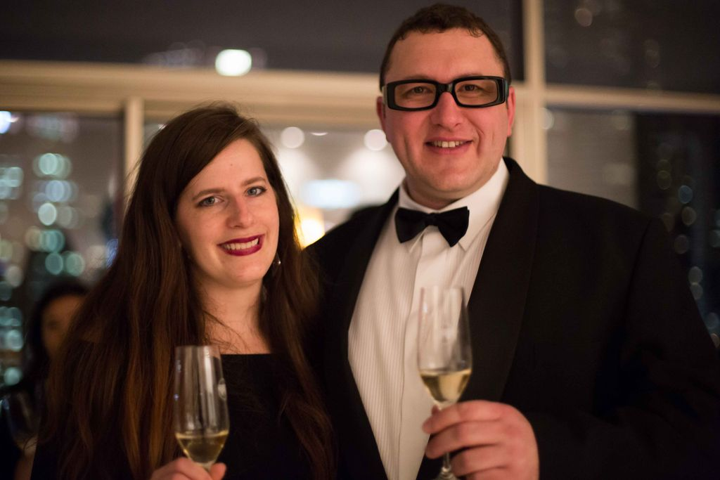 Theresa with Wine Tasting Events founder Martin - photo courtesy Marc Verna Productions