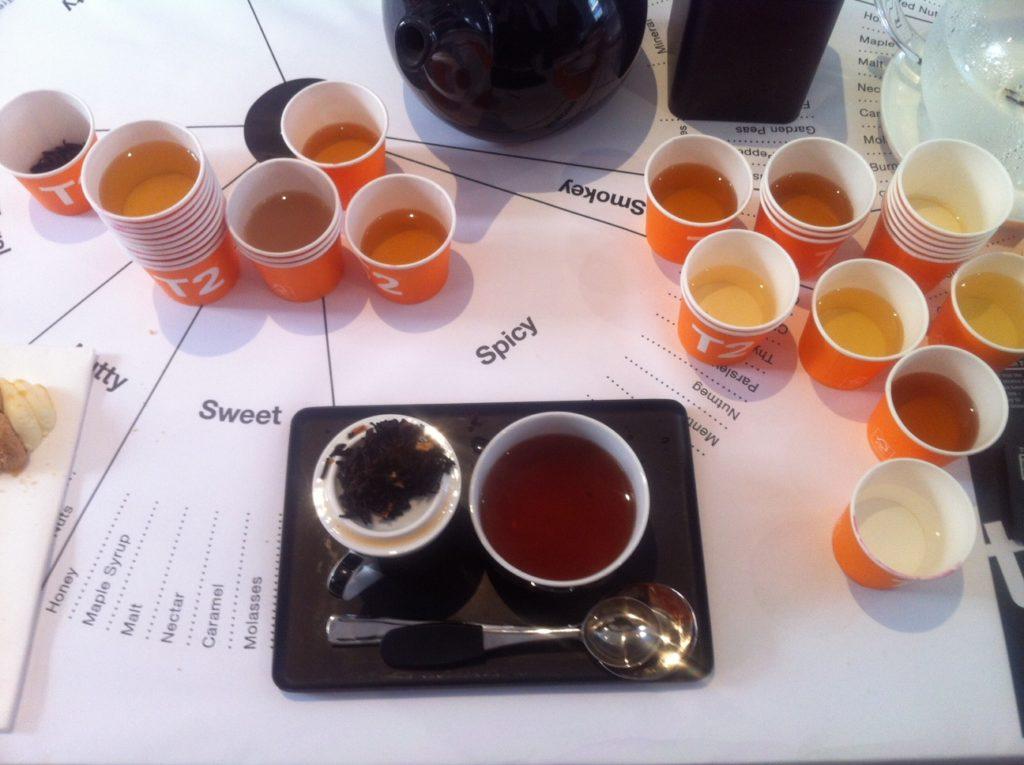 brewing puerh tea at the T2 Tea Tasting Journey