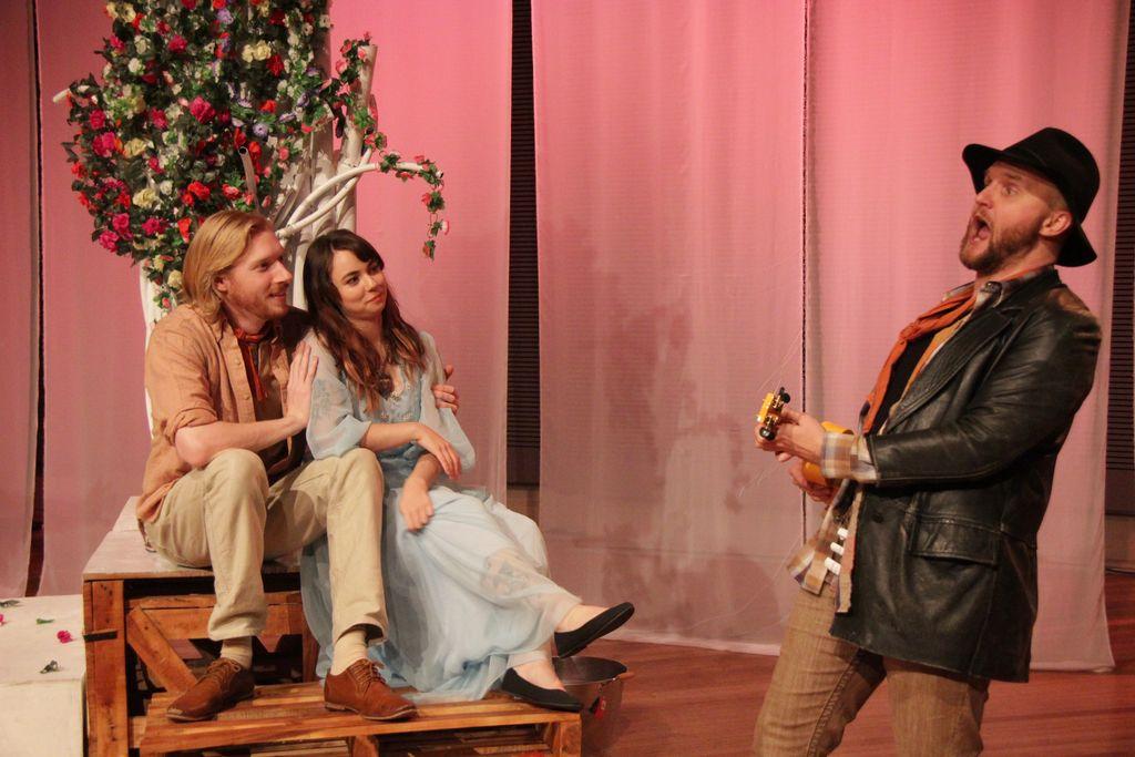 Jimmy James Eaton as Autolycus entertains lovebirds Florizel and Perdita