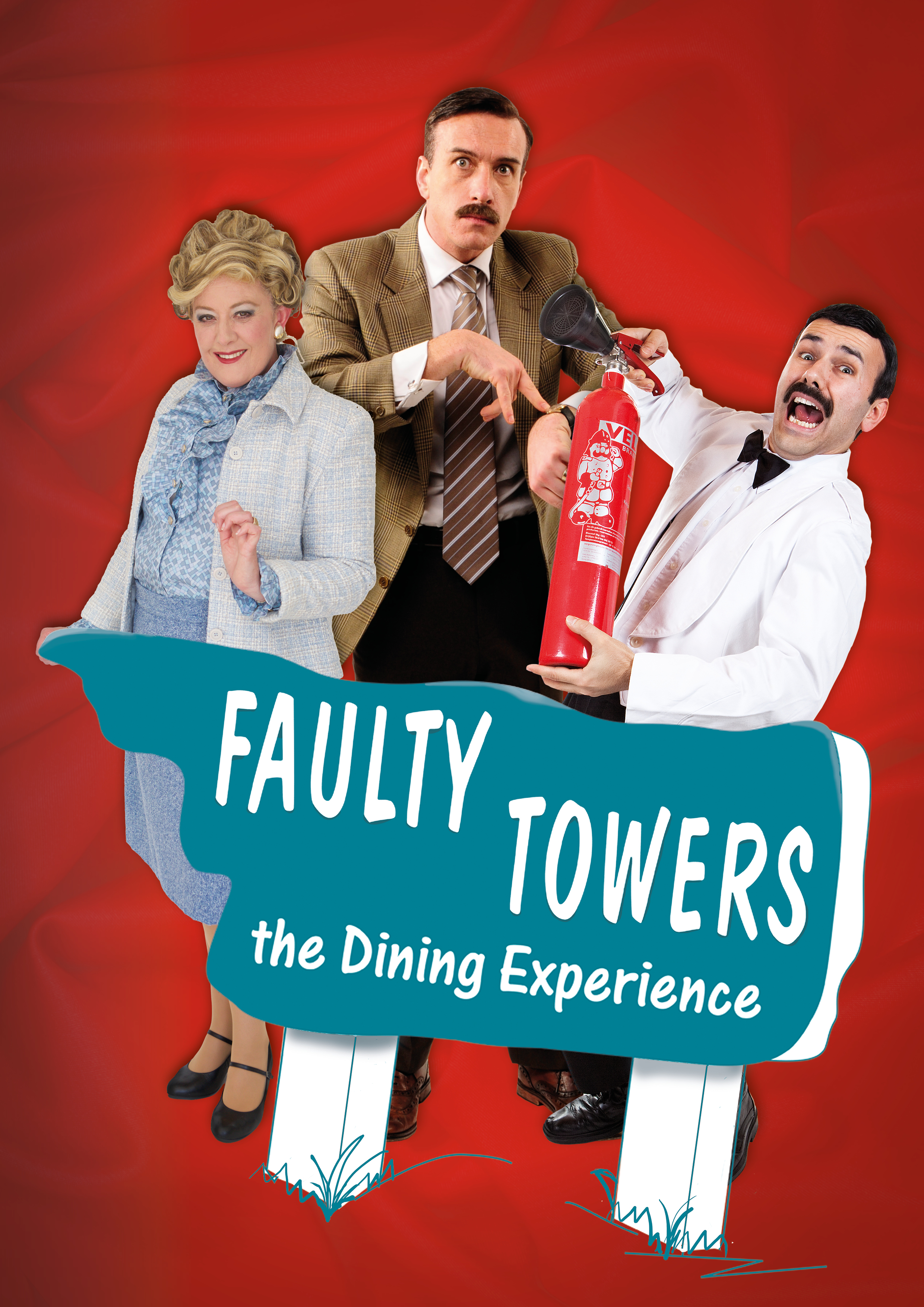 cast FaultyTowers_Monique-Luke-Anthony_red branded