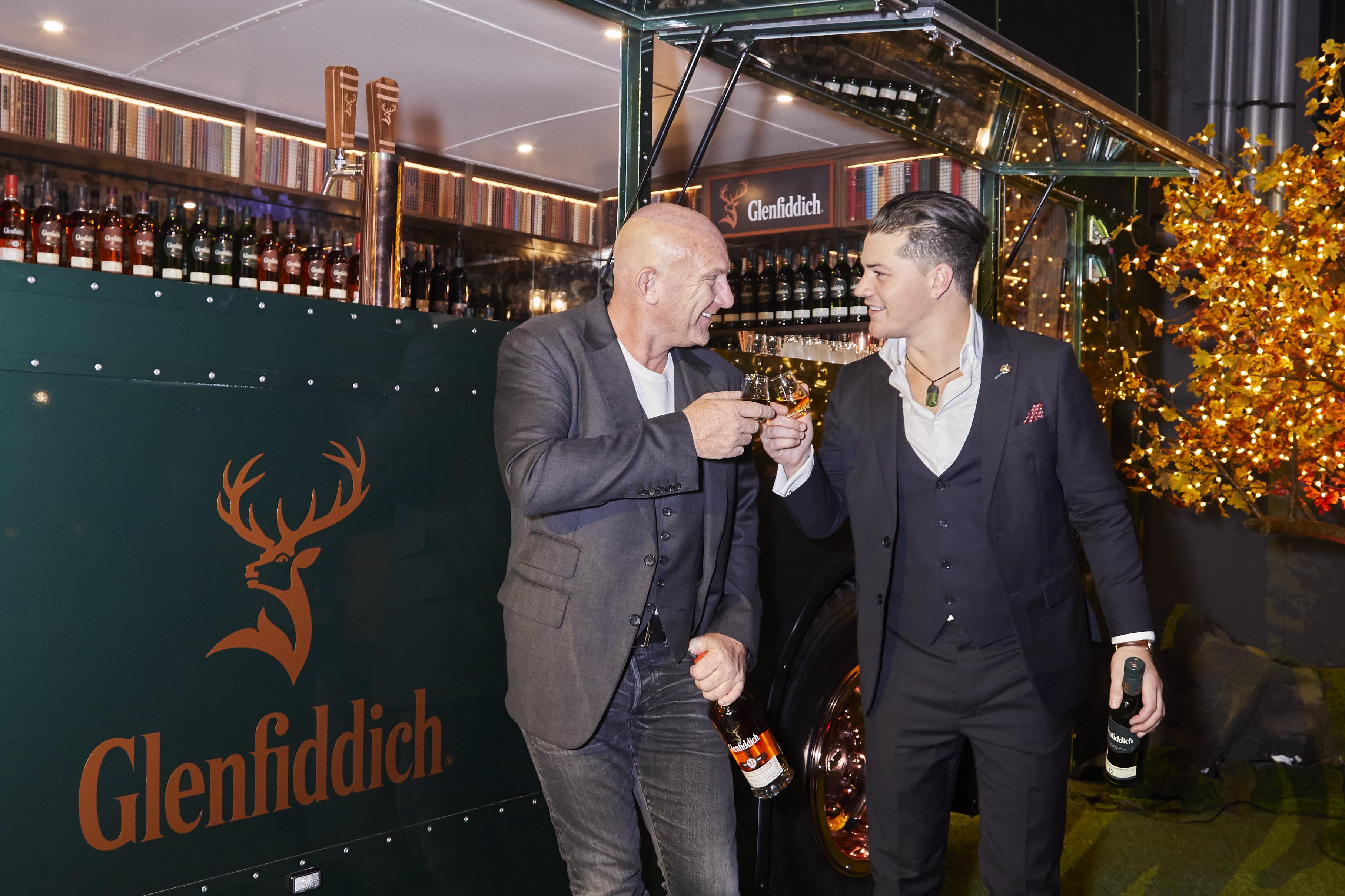 Matt Moran and Glenfiddich Brand Ambassador Luke Sanderson enjoying a dram by the Glenfiddich Whisky Wanderer.