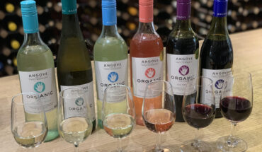 Angove Organic vegan wine bottles & wines in glasses