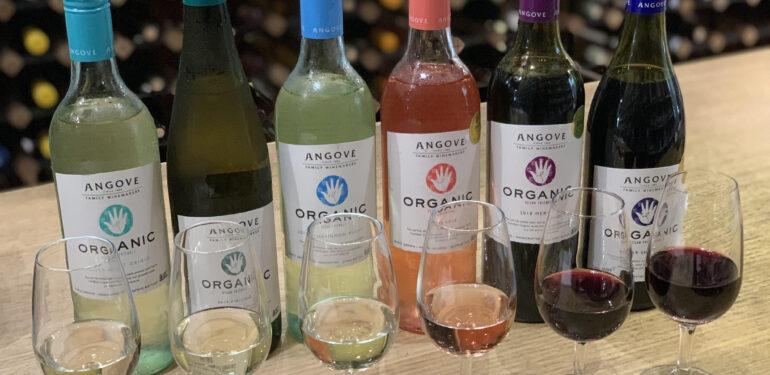 Angove Organic vegan wine bottles & wines in glasses