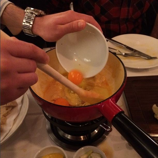 yes, an egg goes in the fondue - photo via @thecheesemonger