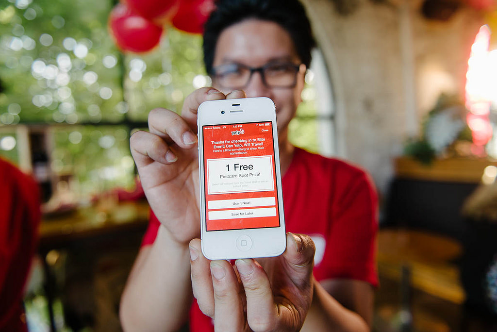 Download the Yelp app, go to parties, win prizes - photo courtesy Photobat