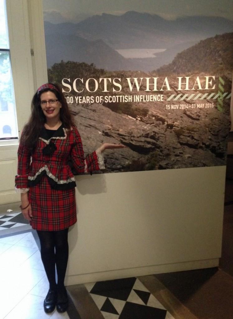 Theresa at the Scots Wha Hae exhibit